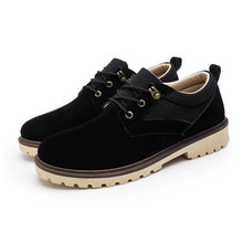 CPI 2018 New Men's casual leather shoes Comfortable wear-resisting Work shoes Breathable Lace-up Flats shoes PP-11
