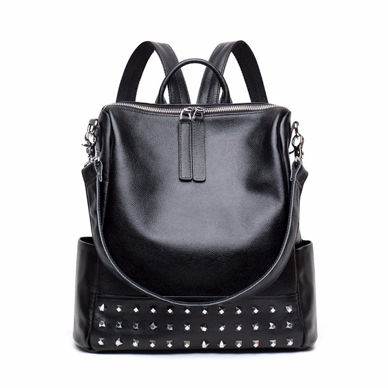 Lisse Women BackPacks Genuine Leather Fashion Rivet Cow Leather dual Shouler Zipper School Bag For Girl nucelle brand new design fashion drawstring gemstone lock zipper cow leather casual women lady backpacks shoulders school bag