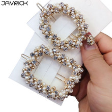 Korean Wedding Banquet Hair Styling Frog Bobby Pins Ladies Faux Pearl Rhinestone Beaded Clip Hollow Square Round Barrettes