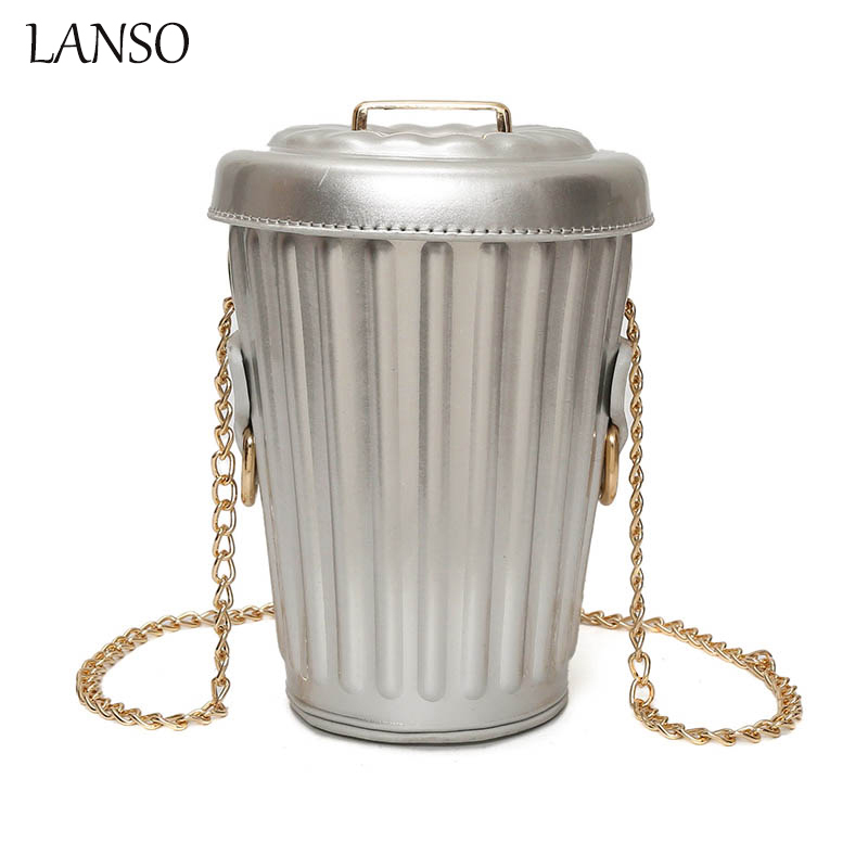 LANSO Personality Bucket Bag Pu Leather Female Chain Crossbody Mini Messenger Bag Purse Women Drink Bottle Shape Small Bag  fun fashion personality disposable leather pu leather chain shoulder bag handbag female crossbody mini messenger bag purse