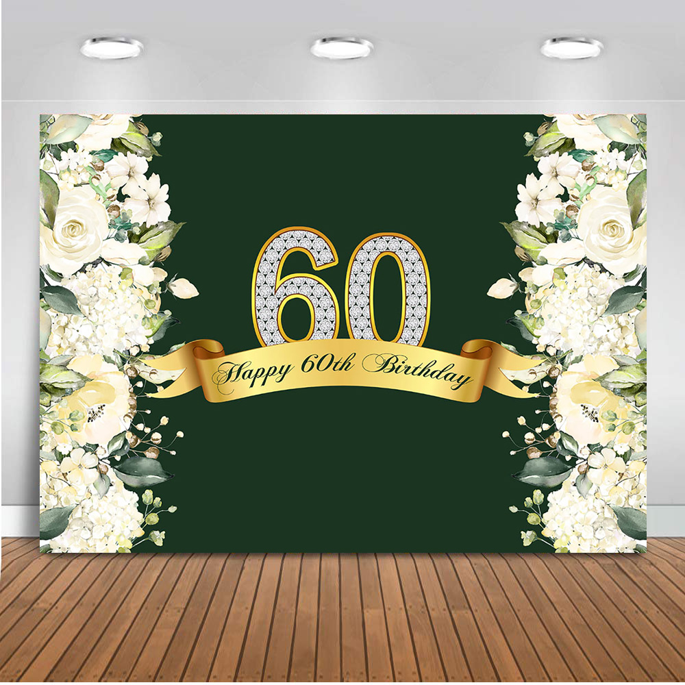 Neoback Happy <font><b>60th</b></font> <font><b>Birthday</b></font> <font><b>Backdrop</b></font> for Photography Spring Flower Green Grass Photo Background Studio <font><b>60th</b></font> Theme Parties 413 image