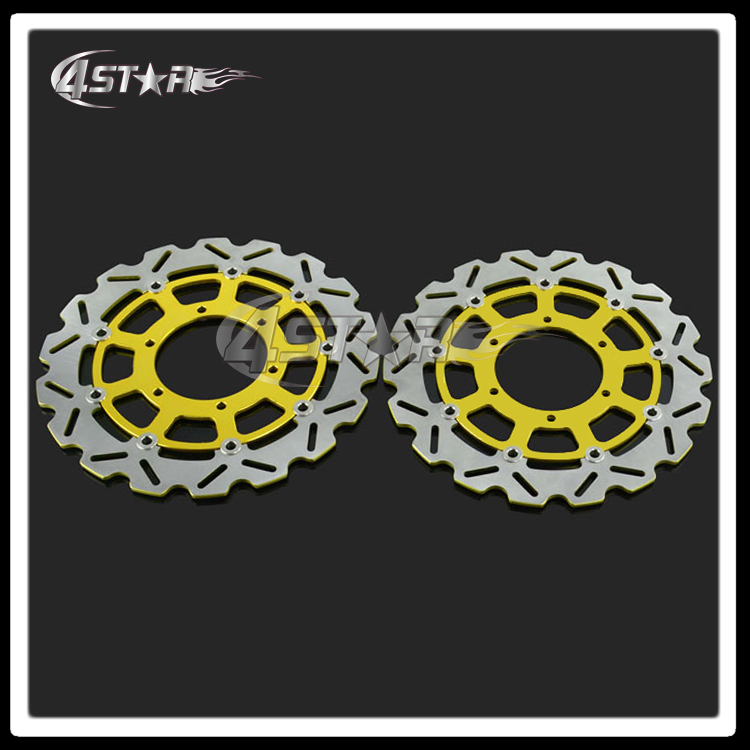2 Pcs Gold Motorcycle Front Floating Brake Disc Rotor For GSXR600 GSXR750 2008-2014 GSXR1000 2009-2014 Motocross Dirt Bike