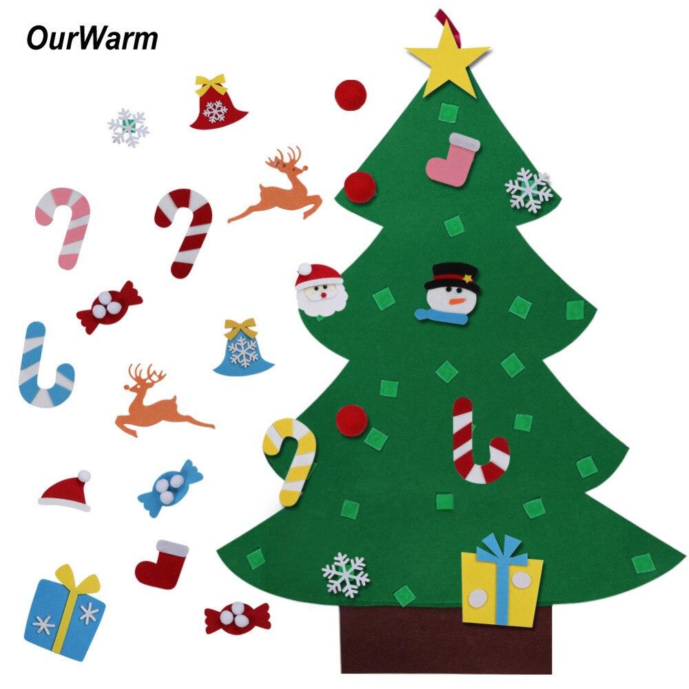 Ourwarm Crianças DIY Sentiu Árvore De Natal com Enfeites de Crianças Presentes De Natal para 2018 Ano Novo Porta Parede Pendurado Decoração de Natal