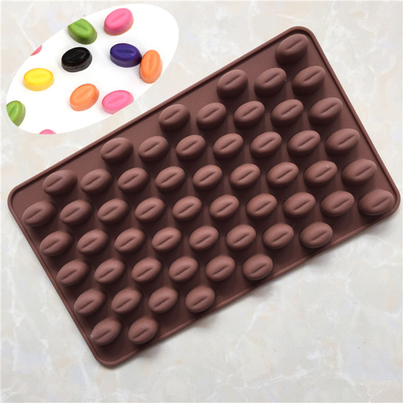 55 Holes Silicone 3D Coffee Bean Chocolate Mold Non-Stick Fondant Cake Decor Kitchen Baking Mould image