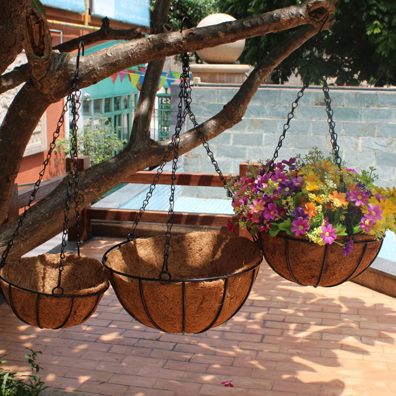 2019 New Style 20/25/30/35/40cm Flower Hanging Basket Wrought Coconut Flowerpot Rattan Decorative Pots Wall Iron Garden Planter Balcony Deco Grade Products According To Quality Garden Pots & Planters