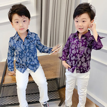 The new children han edition boys long sleeve shirt flower beach  baby blouse Fashion shirts ALI 322