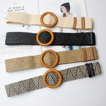 New Vintage Knitted Wax Rope Wooden Bead Waist Women Smooth Buckle Belt Woman Woven Female Hand-Beaded Braided BZ88