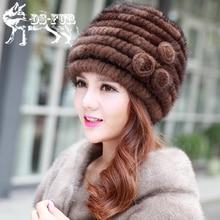 Горячие продажи реального норки меховая шапка для женщин трикотажные норки cap шапочки с цветочные зима weave шляпы 2016 новый толстая женщина шляпа