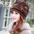 Venda quente chapéu de pele de vison real para as mulheres de malha gorro de pele de vison gorros com floral tecer inverno chapéus 2016 nova marca thick chapéu feminino