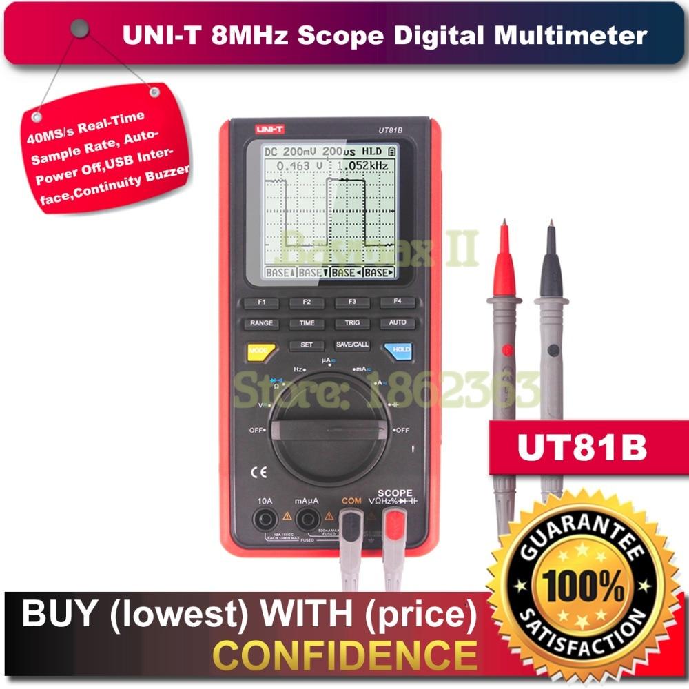 UNI-T UT81B 8MHz 40MS/s Real-Time Sample Rate Handheld LCD Scopemeter Oscilloscope Digital Multimeter uni t ut81b handheld digital multimeter oscilloscope 8 mhz scope 40ms s oscilloscope scopemeter register shipping