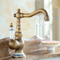 Blue And White Porcelain Kitchen Faucet 360 Swivel Retro Mixer Tap Fashion Antique Faucet Copper Hot