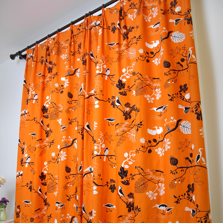 ... Curtains For The Living Room Orange Base With Black Birds Print  Blackout Curtain Fancy Window Curtains ...