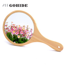 JUH South Korea Style Simple Design Wood Mirror With Handle Large Size in Round
