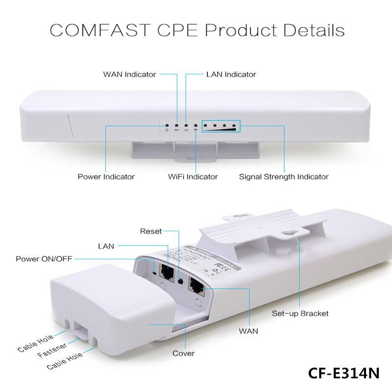Répéteur WIFI longue couverture WI-FI extérieur étanche antenne CPE COMFAST CF-E214N 150 M sans fil pont poe cpe point d'accès AP