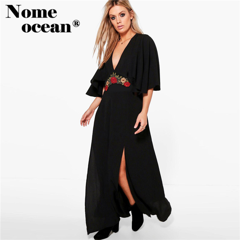 US $24.99 30% OFF|Empire Waist Embroidered Floral Maxi Dresses Plus Size  Short Sleeve Dresses of Girls 2018 Summer High Slit Women Dress  M17071308-in ...