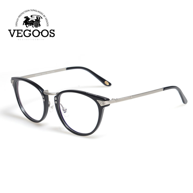 VEGOOS Brand Design Round Retro Acetate Glasses Frame eyeglasses myopia eyewear Light Oculos brand design oval face #5046