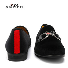 Men Casual Shoes Velvet Loafers Luxury Brand Butterfly Breathable Party Wedding Red Italian Mens