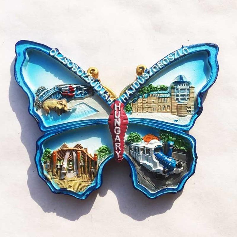 BABELEMI Resin 3D Fridge Magnet Hungary Souvenir Landscape Fridge Magnet Cute Butterfly Shaped  Magnetic Refrigerator Suvenir