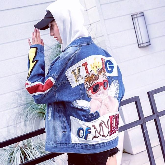 Bande Dz059 Brodé Trous Denim Déchiré Automne Appliques Streetwear Mignon De 2018 Casual Veste Cool Anges Dessinée W9HED2YIe