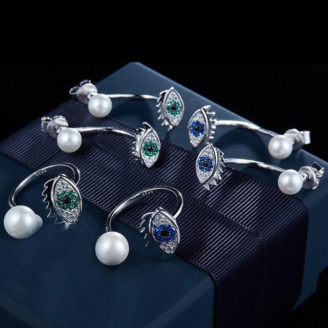 New 925 Sterling Silver Evil Eyes Stud Earrings Full Aaa Zircon Freshwater Double Pearl Stud Earrings for Women Jewelry Gift