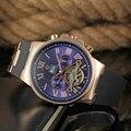 2016 FORSINING Lujo Marca Relojes Automáticos de Los Hombres de Goma Negro Oro Hombres Relojes de Pulsera Hombre Reloj Masculino Tourbillon Reloj Mecánico