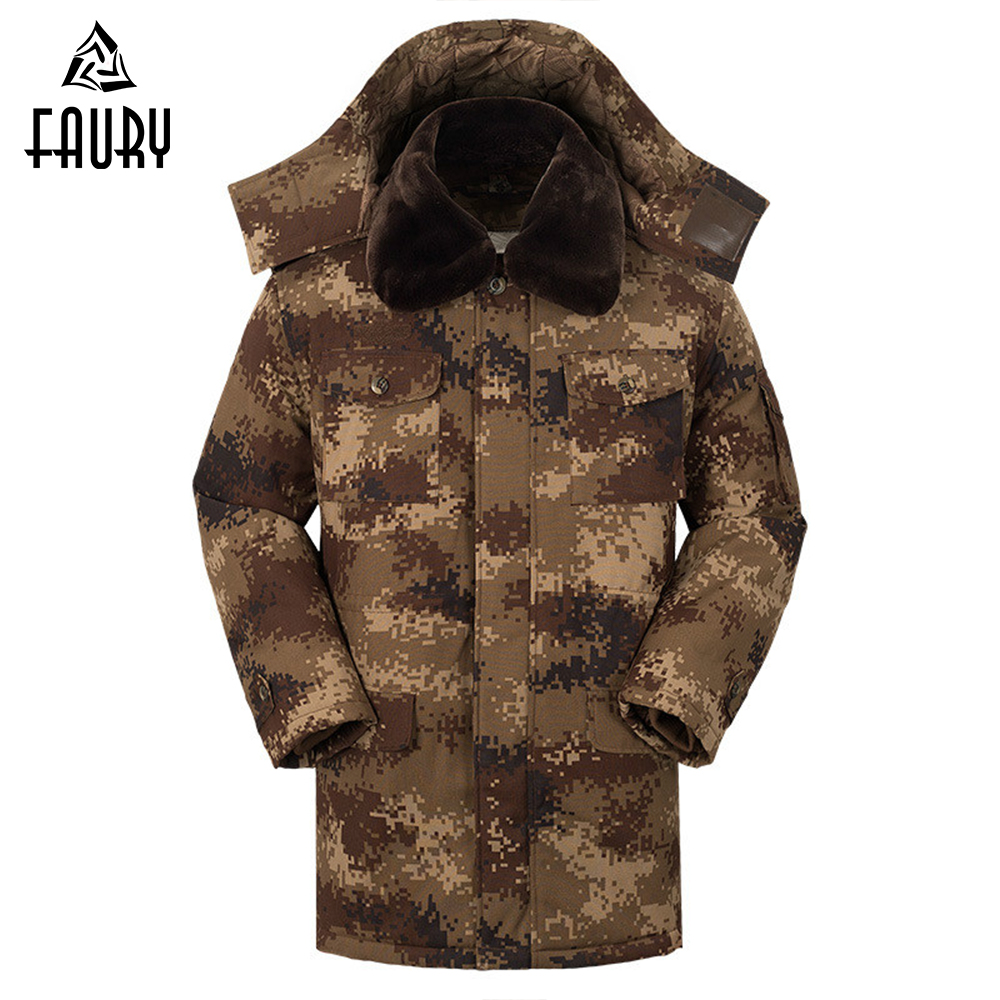 Men's Thick Winter Military Uniform Desert Camouflage Coat Waterproof Cotton Hooded Removable Liner Army Tactical Clothes