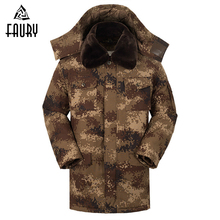 Mens Thick Winter Military Uniform Desert Camouflage Coat Waterproof Cotton Hooded Removable Liner Army Tactical Clothes