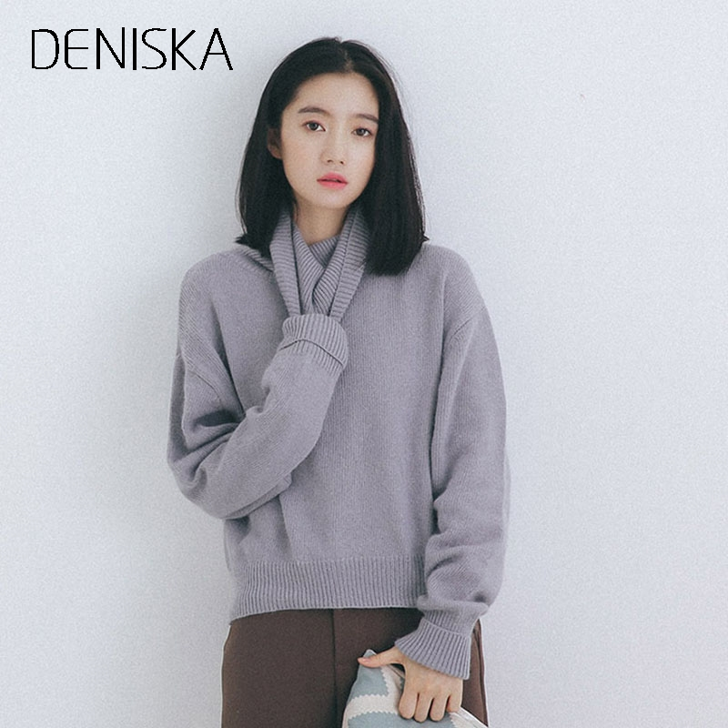 DENISKA Autumn Winter Turtleneck Sweater Women 2017 New Design Gray Thick Tricot Women Sweater And Pullover Female Jumper Tops