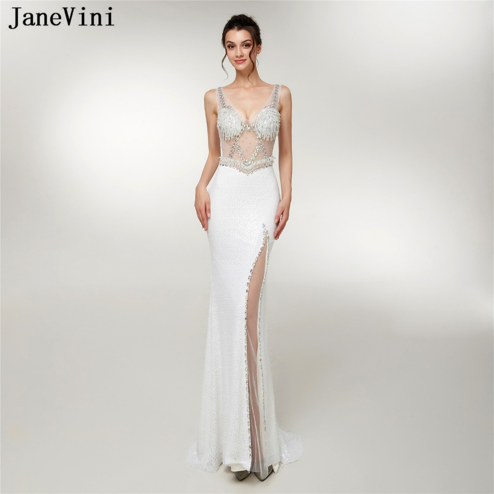 JaneVini Chic White Mermaid Sequined   Bridesmaid     Dresses   with Crystal Beaded V Neck High Split Sexy Prom Gowns Formal Party Wear