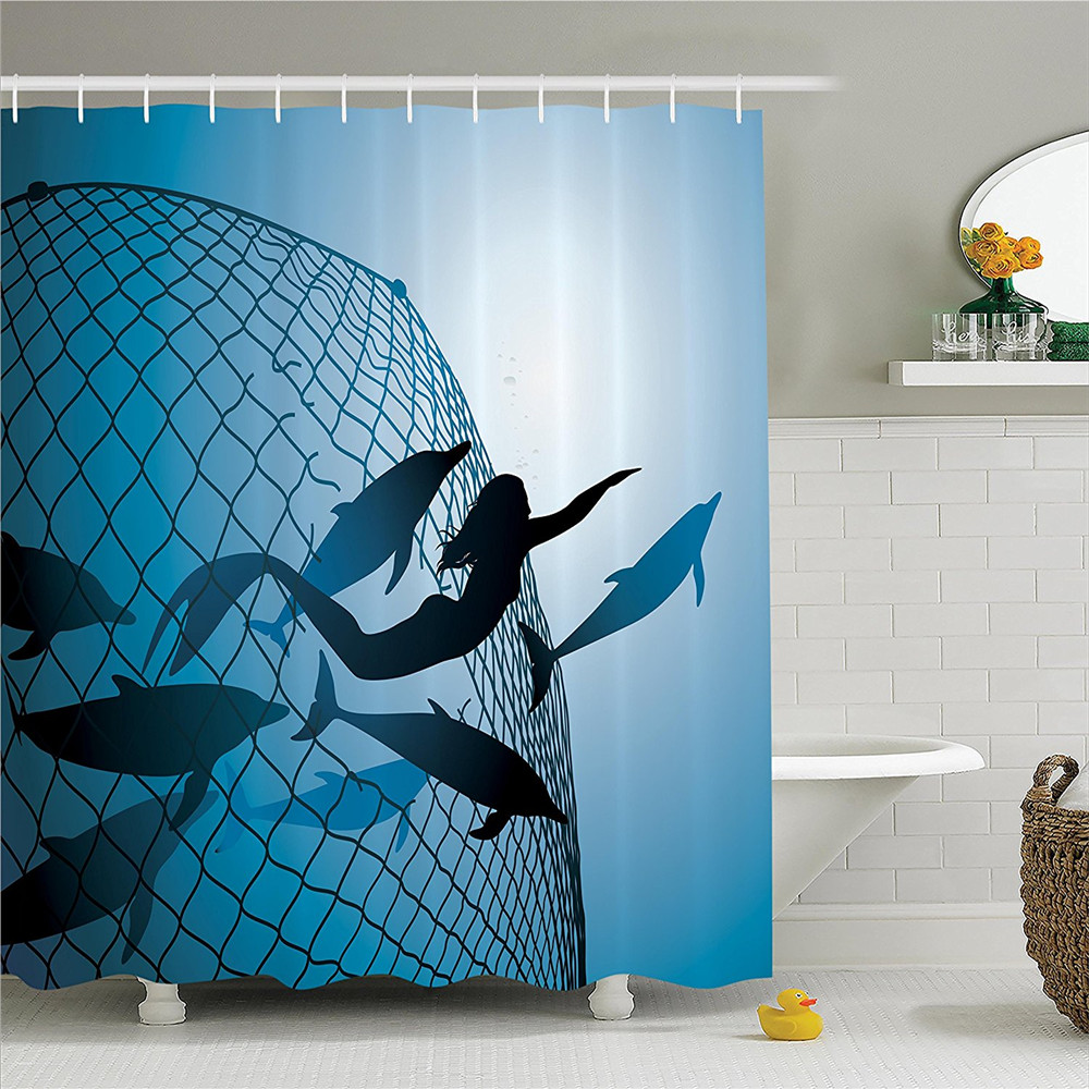 Mermaid Decor Shower Curtain Set A Rescues Flight Of Dolphins From Fishing Net Freedom Diver Bathroom Accessories In Curtains Home