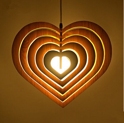 Modern Retro simple Personality Wooden Wood Cafe love Bar Restaurant Heart-shaped LED Hanging Fixture Pendant Lights Lamp цена и фото