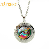 TAFREE Fashion Personality statement Necklace colorful geometric locket vintage wedding pendant art picture glass jewelry A200