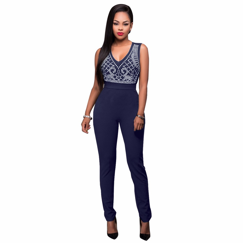 2017 New Summer Women Jumpsuit Bandage Black Bodysuit V-Neck Sleeveless Print Zipper Back Sexy Bodycon Jumpsuits And Rompers 5