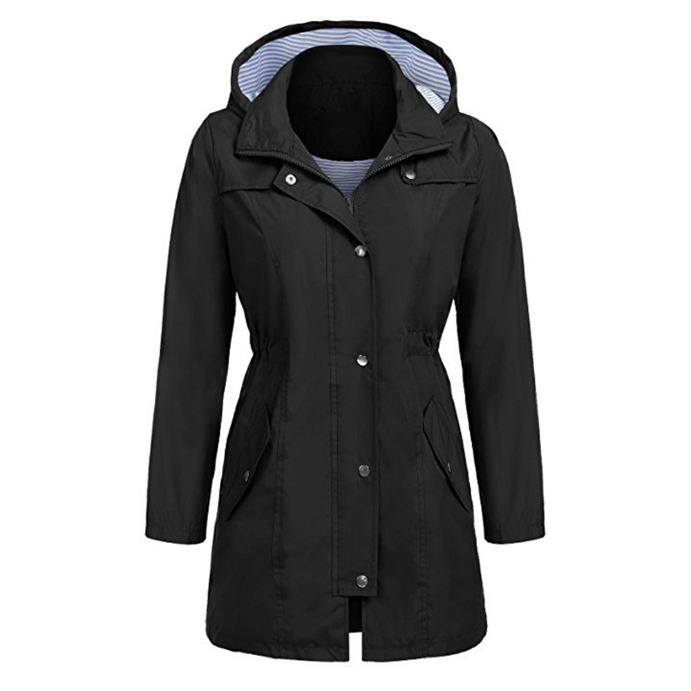 Gothic Winter Coat F Or Women Long Sleeve Hooded Slim Outerwear Elastic Waist Fashion Autumn Button Zipper Trench Coats