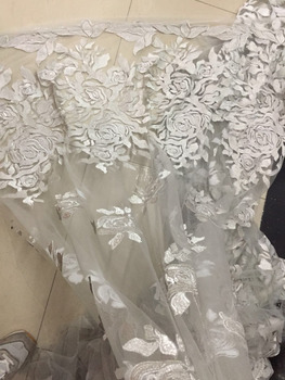 african fabric 2018NEW ch75#  Silver lace embroidery peony pattern wedding dress clothfor use at wedding parties