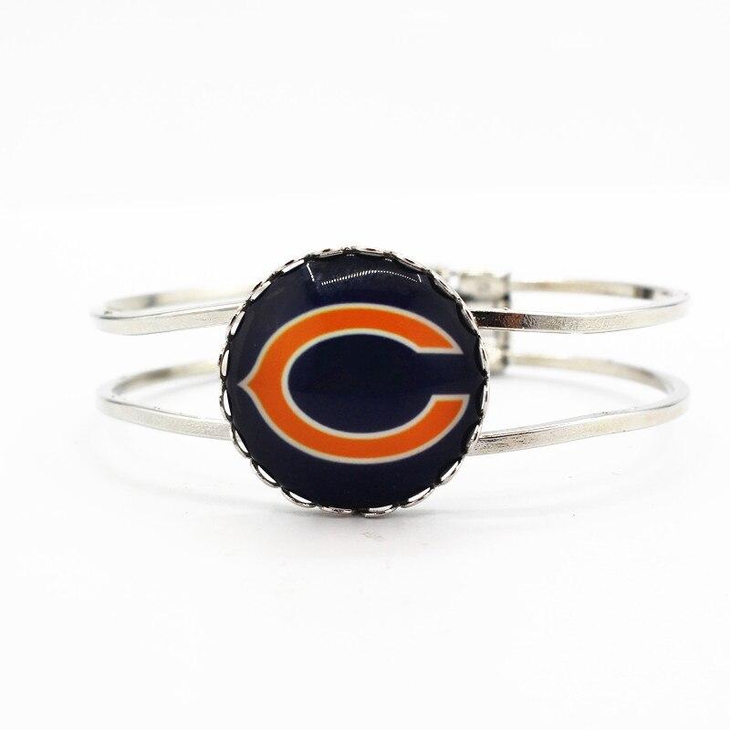 Новый стиль Chicago Bears футбольная команда плавающие прелести серебряный браслет сплава браслеты ювелирные изделия для любителя спорта лучший...