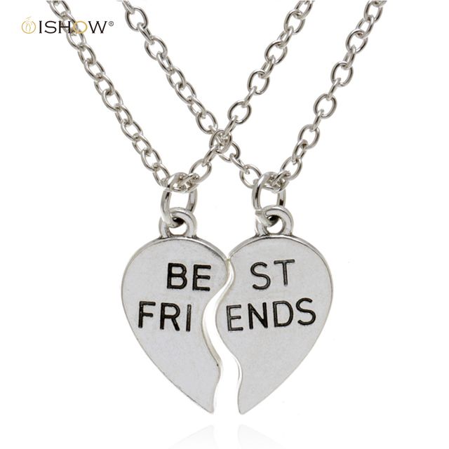 Friendship heart necklace plated sliver romantic fantasy