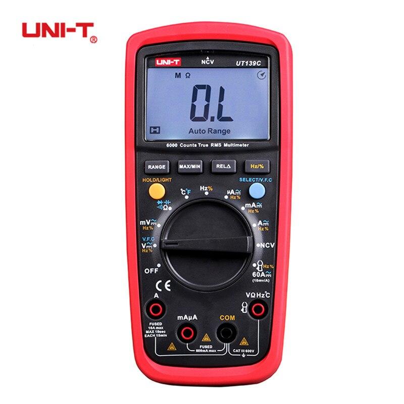 UNI-T UT139C UT139A RMS Verdadeiro Multímetro Digital Auto Faixa Handheld Tester AC DC 6000 Contagem Voltímetro Temperatura Transistor
