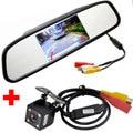 Auto Estacionamento Monitor de Vídeo HD carro 4LED Night Vision Invertendo CCD Car Câmara de Visão Traseira + 4.3 polegada Retrovisor Do Carro Espelho Monitor de
