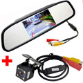 Car HD Video Auto Parking Monitor 4LED Night Vision Reversing CCD Car Rear View Camera +4.3 inch Car Rearview Mirror Monitor