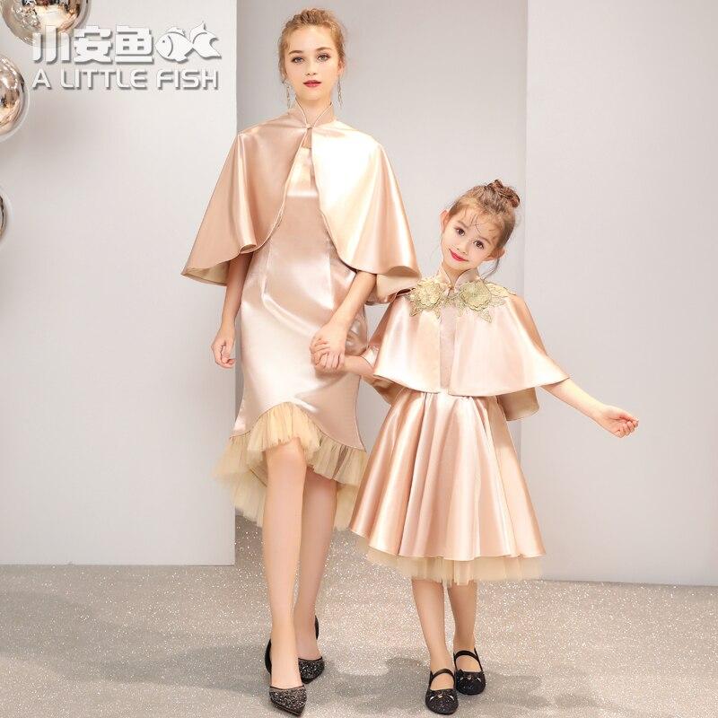 Свадебное платье для мамы и дочки; одежда для семьи золотого цвета; платья для мамы и дочки; одежда принцессы; одинаковые комплекты для семьи