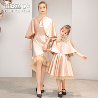 Mommy Bebes Wedding Dress Family Look Clothing Golden Color Mother Daughter Dresses Princess Clothes Family Matching Outfits