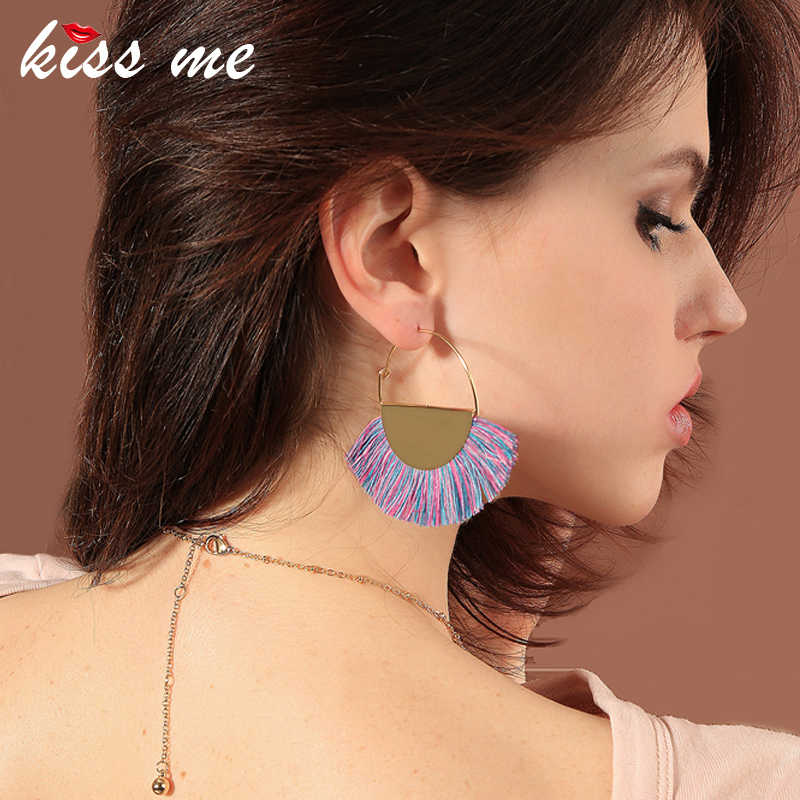 KISS ME Bohemian Earrings Unique New Purple Red Cotton Rope Round Big Drop Earrings Retro Accessories Women Ethnic Jewelry