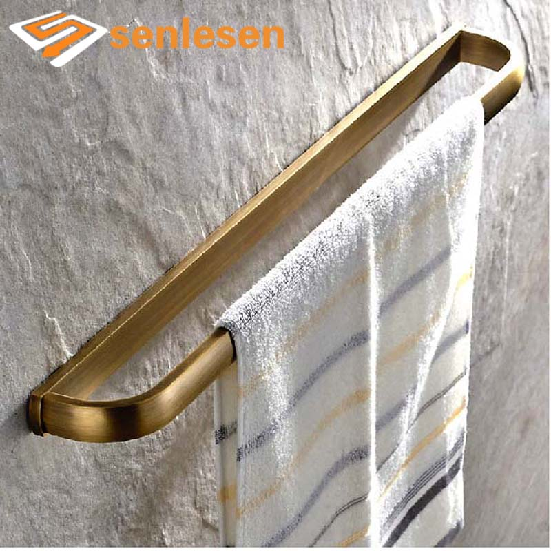 Wholesale And Retail Luxury Solid Brass Bathroom Towel Rack Holder Antique Brass Towel Bar Hanger Wall Mounted free shipping wholesale and retail promotion crystal bathroom towel rack holder antique brass ceramic base towel ring holder