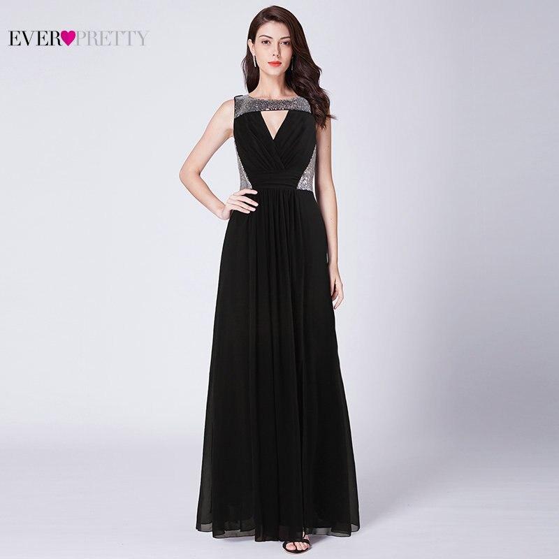 Черное вечернее платье Ever Pretty EZ07631BK новый элегантный линии Длинные шифон серебро блестками официальная Вечеринка платья халат De Soiree 2019