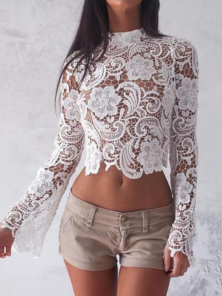 Elegant Turtleneck White Lace Blouses See Through Sexy Long Sleeve Crochet Short Blouse Women Fashion Tops Floral Ladies Shirt