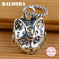 BALMORA 100 Real 925 Sterling Silver Jewelry Cat Head Cross Retro Pendants For Necklaces Women Men