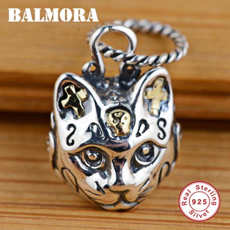 BALMORA 100 Real 925 Sterling Silver Jewelry Cat Head Cross Retro Pendants For Necklaces Women Men