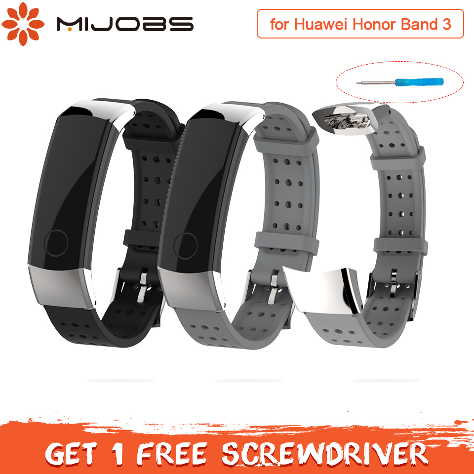 Mijobs Sports Silicone Wrist Strap For Huawei Honor Band 3 Strap Smart Wristband Replace Bracelet For Honor Band 3 Strap Correa