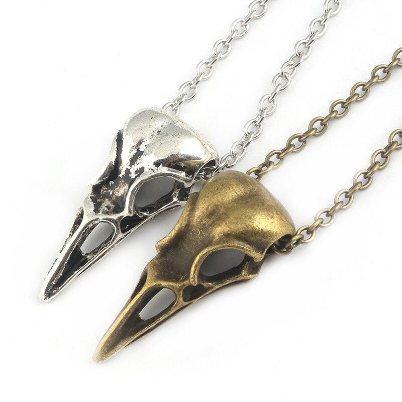 Fashion Biker Viking Vintage Punk Jewelry Crow Head Bird Skull Necklace Skull series accessories skull necklace raven skull